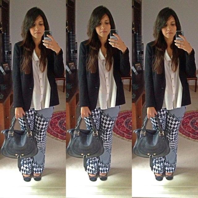 Camisa: Acsa - R$69,90 Blazer: Zara - R$275,00 Calça: Lamis - 19,00 Sapato: Arezzo - R$100,0 (SALE) Bolsa: Kalan - R$70,00